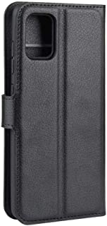 Samsung Galaxy A71 Mobile Phone Case Flip Cover Litchi Textured Leather Cover-Black