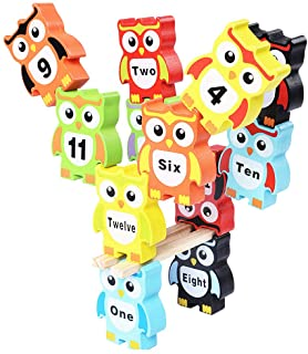 Alician Educational Building Blocks Toys Stacked High Wood Large Color Stacked Music Digital Owl Kid Toys