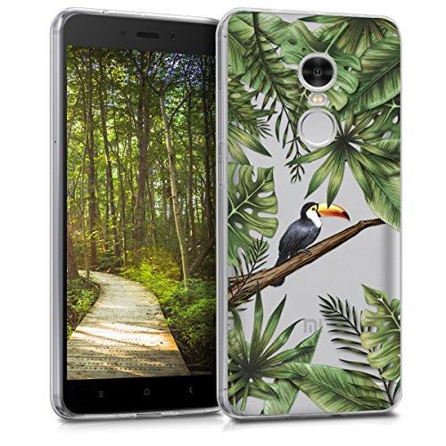kwmobile Hülle kompatibel mit Xiaomi Redmi 5 Plus/Redmi Note 5 (China) - Hülle Handy - Handyhülle - Dschungel Tucan Grün Schwarz Transparent