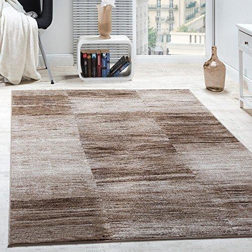 Paco Home Designer Teppich Modern Wohnzimmer Teppiche Kurzflor Karo Meliert Braun Beige, Grösse:70x140 cm