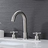 SHACO Modern 8 Inch Widespread Brushed Nickel Bathroom Sink Faucet,2 Handle 3 Hole Stainless Steel Bathroom Lavatory Vanity Faucet Set with with Pop-up Drain and Water Supply Lines