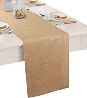 "Burlap Table Runner 12"" X 108''- Rustic Wedding Decoration Table Runner Decoration - Dining Table Runner Roll - Kitchen Table Runner - Thanksgiving Easter Baby Shower Reception Jute Table Runner"