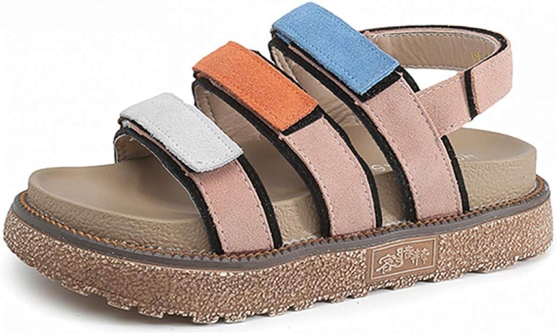 Btrada Summer Women's Low Heel Platform shoes Female Soft Suede Sandals Fashion Mixed color Walking Footwear