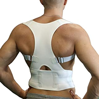 GUSTAVE Men Women Back Brace Posture Corrector Full Adjustable Elastic Straps Improve Posture and Provide Lumbar Support For Lower and Upper Back Pain