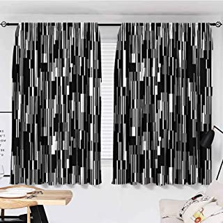 Sun Tao Black and White Curtains Decoration Barcode Pattern Abstraction Vertical Stripes in Grayscale Colors Cloth Black Grey White Curtains for Kitchen