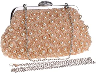 Ladies Fashion Beaded Embroidery/flower/crystal Rhinestone/chain Evening Banquet Bag Dress Clutch Bag Shoulder Messenger Bag. jszzz (Color : Orange)