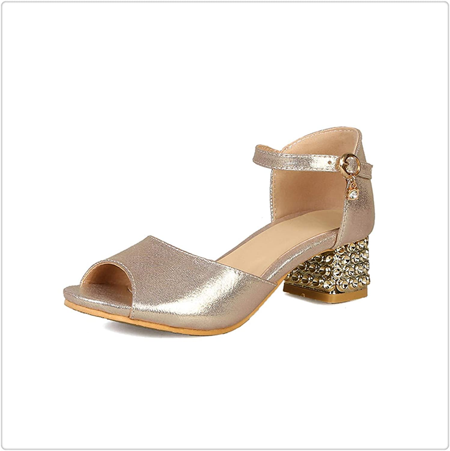 ZXCVB& Women Thick Med Heel Metal Sequined Cloth Party shoes Buckle Open Toe Sandal