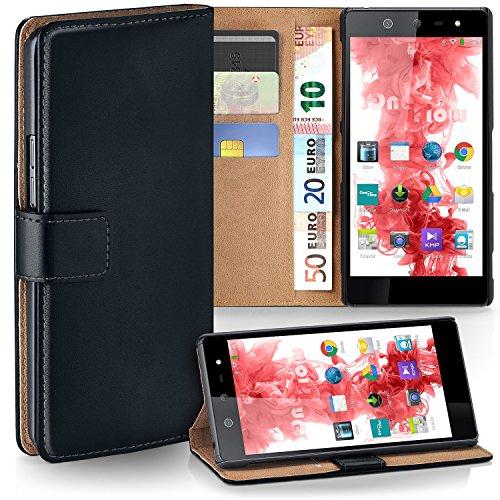 MoEx® Booklet mit Flip Funktion [360 Grad Voll-Schutz] für Wiko Selfy 4G   Geldfach & Kartenfach + Stand-Funktion & Magnet-Verschluss, Schwarz