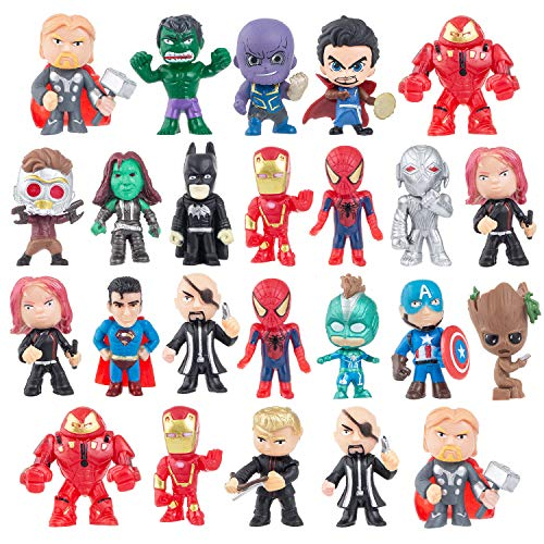Ls Line Action Figures, Anime Figures, 24 PCS Super Hero Adventures Play Set - Mini PVC Web Warriors Figures Toys Dolls for Kids Ages 3 and Up, Christmas, Birthday Gift & Home, Car, Decoration (24)