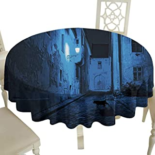 Plaid Round Tablecloth 70 Inch Urban,Black Cat Crossing Deserted Street at Night Mysterious Old European Town Alley,Blue Black White for Home,Party,Wedding & More