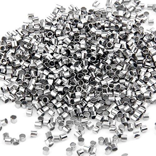 skyllc® 1000 X plaqué Argent Tube Perles à écraser Fin, Les résultats 2mm
