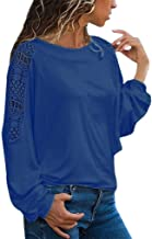Xinantime Womens Solid Tees Long Sleeve Solid Lace Trimmings Hollow Out Loose Top Blouse Plus Size Shirts
