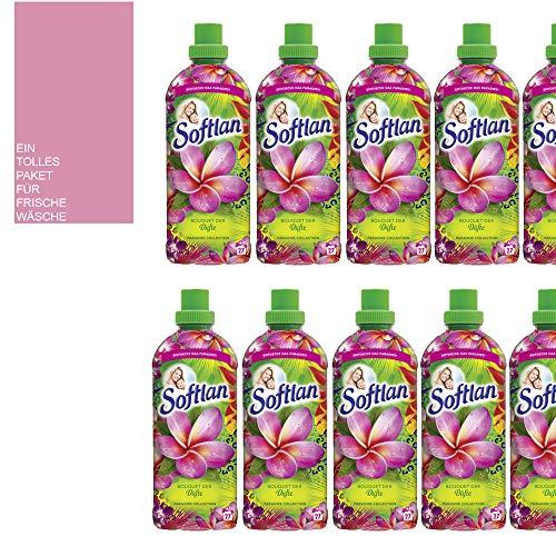 Studio.munet Lot de 12 flacons d'adoucissant Softlan Bouquet des parfums Paradise Parfum tropical 270 WL + 1 sachet parfumé à la vent d'été