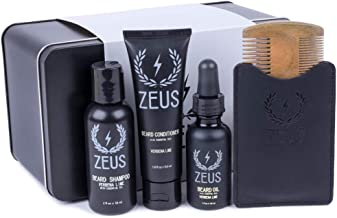 ZEUS Essential Beard Oil Kit - Best Starter Set for Softer Hair and Itch Free Skin (SANDALWOOD)