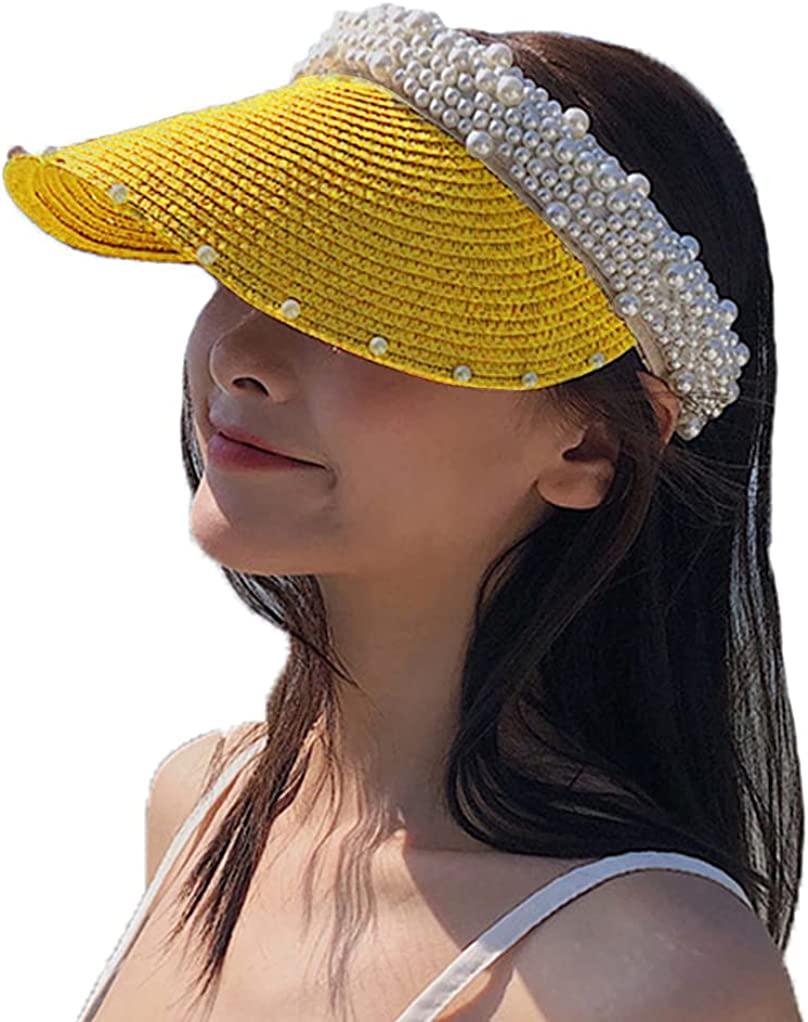 Women's Visor Beach Hat Packable Straw Hat Summer Straw Sun Hat with Decoration Pearl