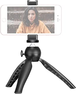 Neewer ミニ三脚テーブルトップフォン三脚スタンド 金属製スマートフォンクリップ付き iPhone/Samsung/Huaweiなどに対応 1/4インチネジ穴とコールドシューマウント 滑り止め 角度調整可能