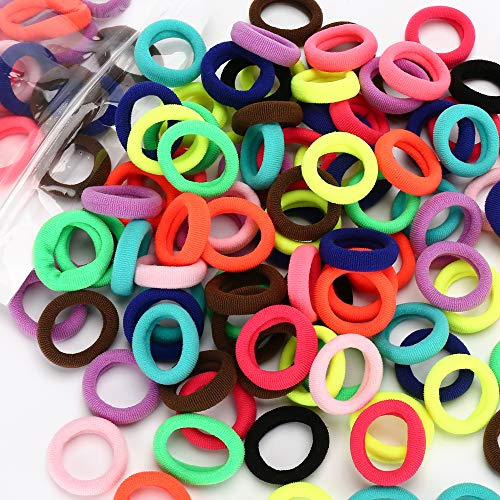 100PCS Cotton Baby Hair Ties – Soft Toddler Ponytail Holders Hair Elastics - Mini Toddler Hair Bands –for Infants Girls Kids, 1 Inch in Diameter, 10 Colors, by NineTong