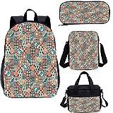 Juego de mochila para adolescentes de 17 pulgadas, vintage a cuadros Grunge School Bags Set para trabajo, escuela, viajes, picnic