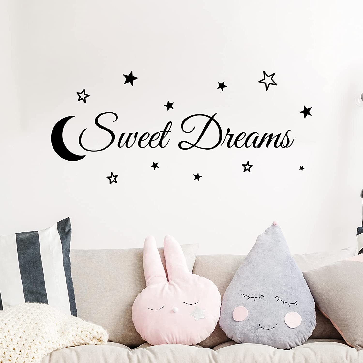 Xijuer Wall Decor Stickers, Sweet Dreams Wall Decal, Wall Art Decor DIY Vinyl Wall Stickers for Bedroom, Living Room, Home