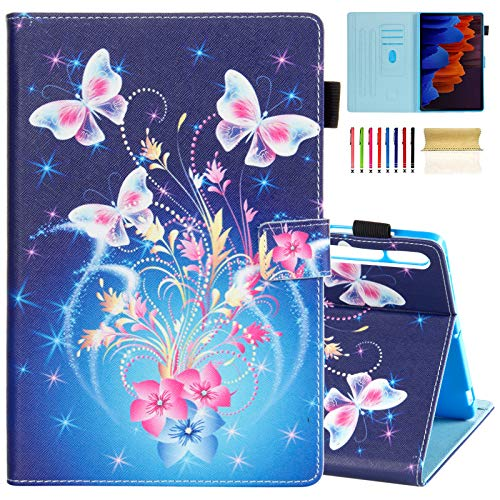 Case for Galaxy Tab S7 Plus 12.4 inch 2020 (SM-T970/ T975), Casii Ultra Slim Smart Magnetic Cover with Auto Sleep/Wake Card Slots for Samsung Galaxy Tab S7 Plus 2020 Tablet (Flower Butterflies)