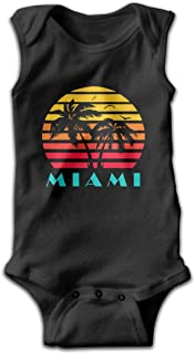 Miami 80s Sunset Baby Sleeveless Playsuit Outfit Clothes Infant Kawaii Bodysuit