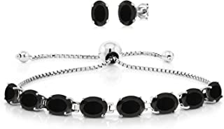 925 Sterling Silver Black Onyx Adjustable Tennis Bracelet Earrings Set, 11.60 Total Carat Weight