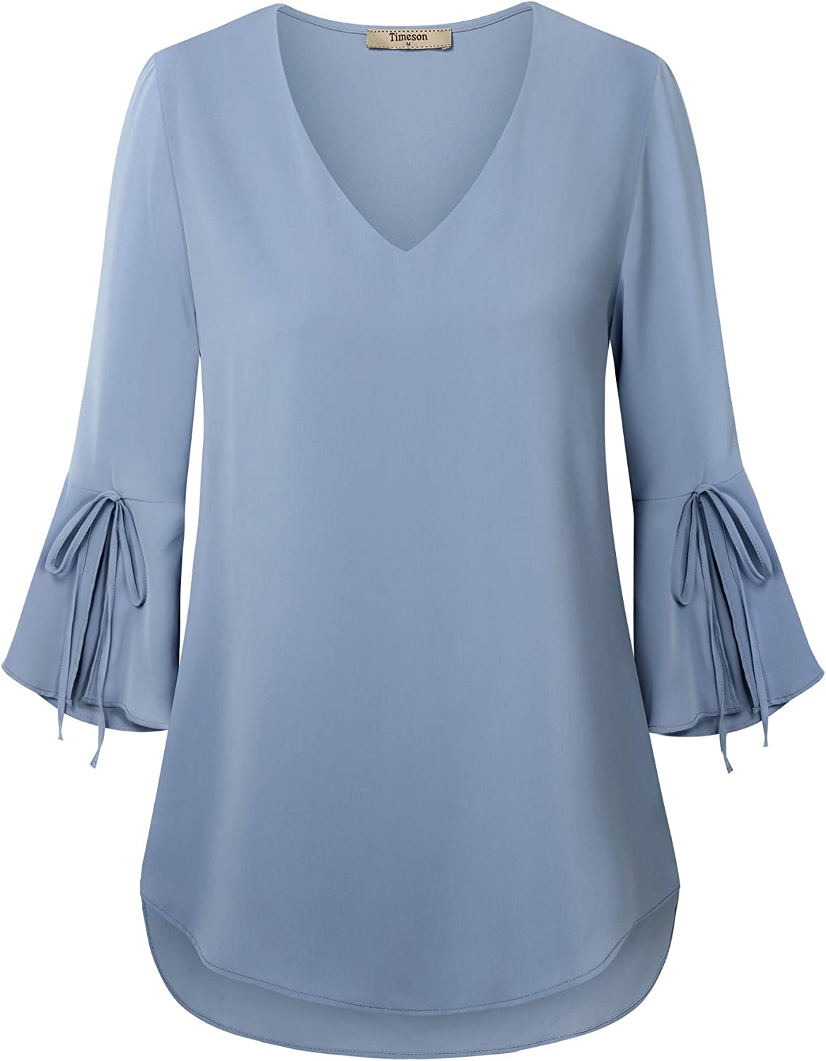 Timeson 3/4 Sleeve Blouse for Women,Women Chiffon Tunic, Junior Bell Sleeve Casual V Neck Summer Shirt Loose Fitted Ladies Tunics Blouses Business Casual Button Down Tunic Dress Work T-Shirt Small