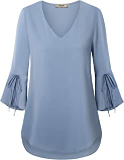 Women's V Neck 3/4 Bell Sleeve Blouses Shirt Casual Loose Tunics Tops