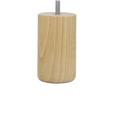 La Fabrique de Pieds Jeu de 4 Pieds de Lit, Bois, Verni Clair, 10 x 6 x 6 cm