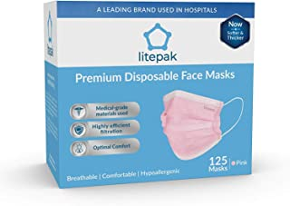 (125ct Box) Disposable Face Mask Premium Soft Earloop 3-Ply Hypoallergenic Medical Surgical Dental Flu Procedural (125 Masks (1 Box), Pink)
