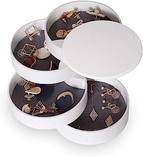CONBOLA Jewelry Organizer, Small Jewelry Storage Box Earring Holder for Women, 4-Layer Rotating Travel Jewelry Tray Case w...