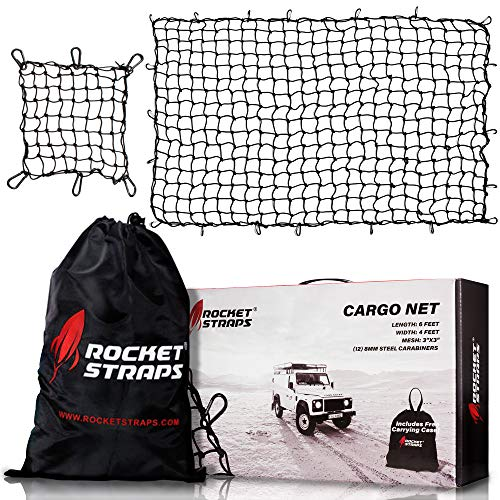"ROCKET STRAPS Cargo Net | 4'x6' Bungee Net Stretches to 8#039x12#039 | Truck Bed Net Includes 12 Steel Carabiners amp Bag | Heavy Duty 5mm 3""x3"" Mesh 