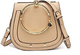 Women Punk Circular Ring Handle Handbags Small Round Purse Crossbody Bags For Girls