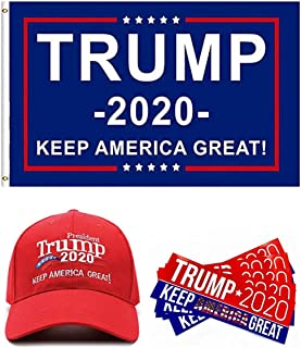 Donald Trump 2020 Flag 3x5 Feet with Grommets Keep America Great 2020 Hat and Keep America Great Stickers for Car - Navy