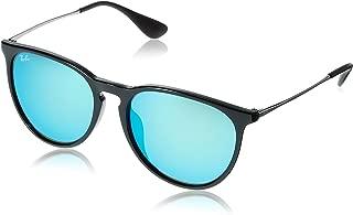 RAY-BAN RB4171F Erika Round Asian Fit Sunglasses, Shiny Black/Blue Mirror, Blue Mirror