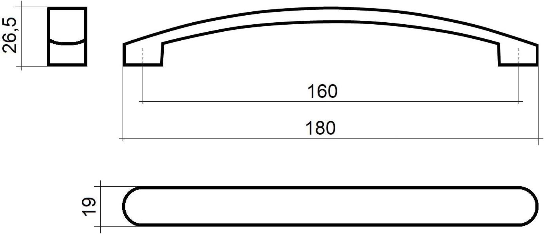 M/öbelgriff SW111 BA 160 mm Edelstahloptik Schrankgriff L/änge 180 mm K/üchengriff Breite 19 mm Schubladengriff H/öhe 26,5 mm von JUNKER Design