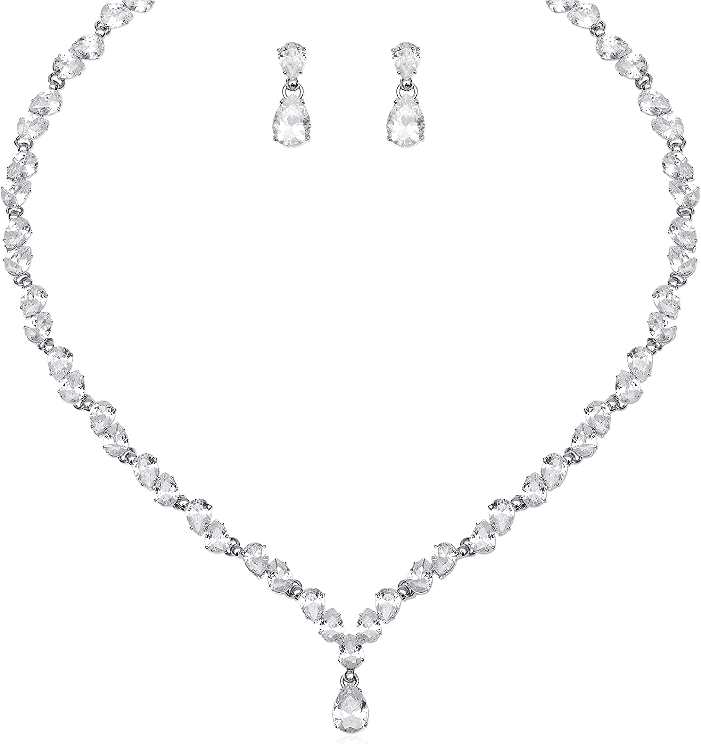 Gorgeous Women's White Cubic Zirconia Bridal Choker Necklace CZ Crystal Earrings Wedding Jewelry Sets for Brides Bridesmaids