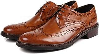 [ONE MAX] ビジネスシューズ メンズ 牛革 スーツ用 革靴 外羽根 ウィングチップ フォーマル ドレスシューズ レースアップ 高級靴 ロングノーズ スタイリッシュ 幅広 通気 防滑