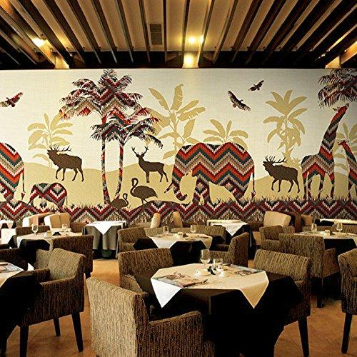 Wongxl Die Südostasiatische Tropische Flora Und Fauna Und Wand Papier Elefant Thai Hotelzimmer Yoga Pavillon Restaurant Tapete Wandmalereien 3D Tapete Hintergrundbild Fresko Wandmalerei Wallpaper Mural 200cmX150cm