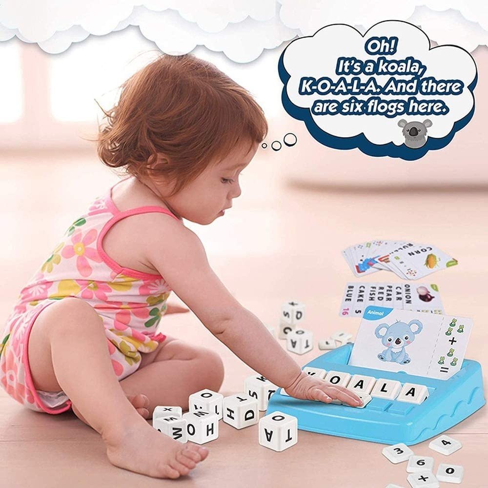 Counting Reading 2 in 1 Educational Toys Board Games for Preschool Spelling AILAAH Matching Letter Game and Number Matching Games for Kids Yellow Objects and Color Recognition Game Toys