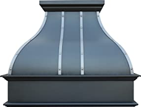 Custom Kitchen Range Hood in Oil Rubbed Bronze Copper Patina with Stainless Steel Straps and Rivets Comes with Professional Hood Insert Sinda H2STRO