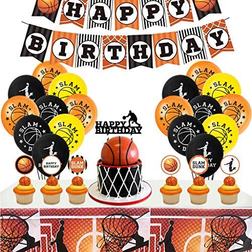 Xinqin - Globos para decoración de fiesta de baloncesto, diseño de baloncesto + pancarta de cumpleaños + tarta + mantel de mesa de cumpleaños para niños y niños