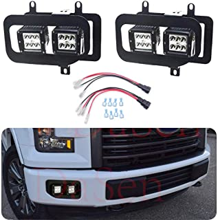 Dasen For 2015 2016 2017 Ford F150 Front Bumper Dual 4 Pcs 3 inch 18W LED Fog lights Plug N Play w/Bumper Foglamp Replacement Mount Brackets Kit