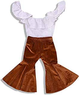 ZOELNIC Baby Girl Pants Set Toddler Girls Ruffle Off Shoulder Tops+Velvet Bell-Bottom Flared Pants Outfits