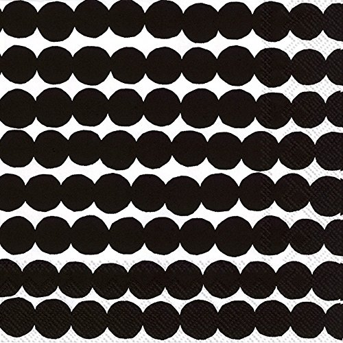 Ideal Home Range Marimekko 20 Count 3 Ply Rasymatto Paper Lunch Napkins, Black