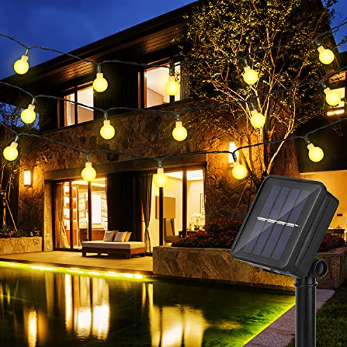Guirnalda Luces Exterior Solar con 50LED & 8 Modos, 7M Cadena de Luces IP65 Impermeable, Guirnaldas Luminosas para Exterior,Interior,Jardines Fiesta de Navidad