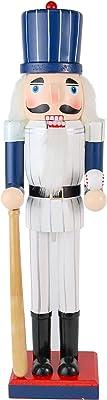 Ornativity Christmas Baseball Player Nutcracker - Baseball Player with White Pin Stripe Uniform and Bat Holiday Decor Nutcracker