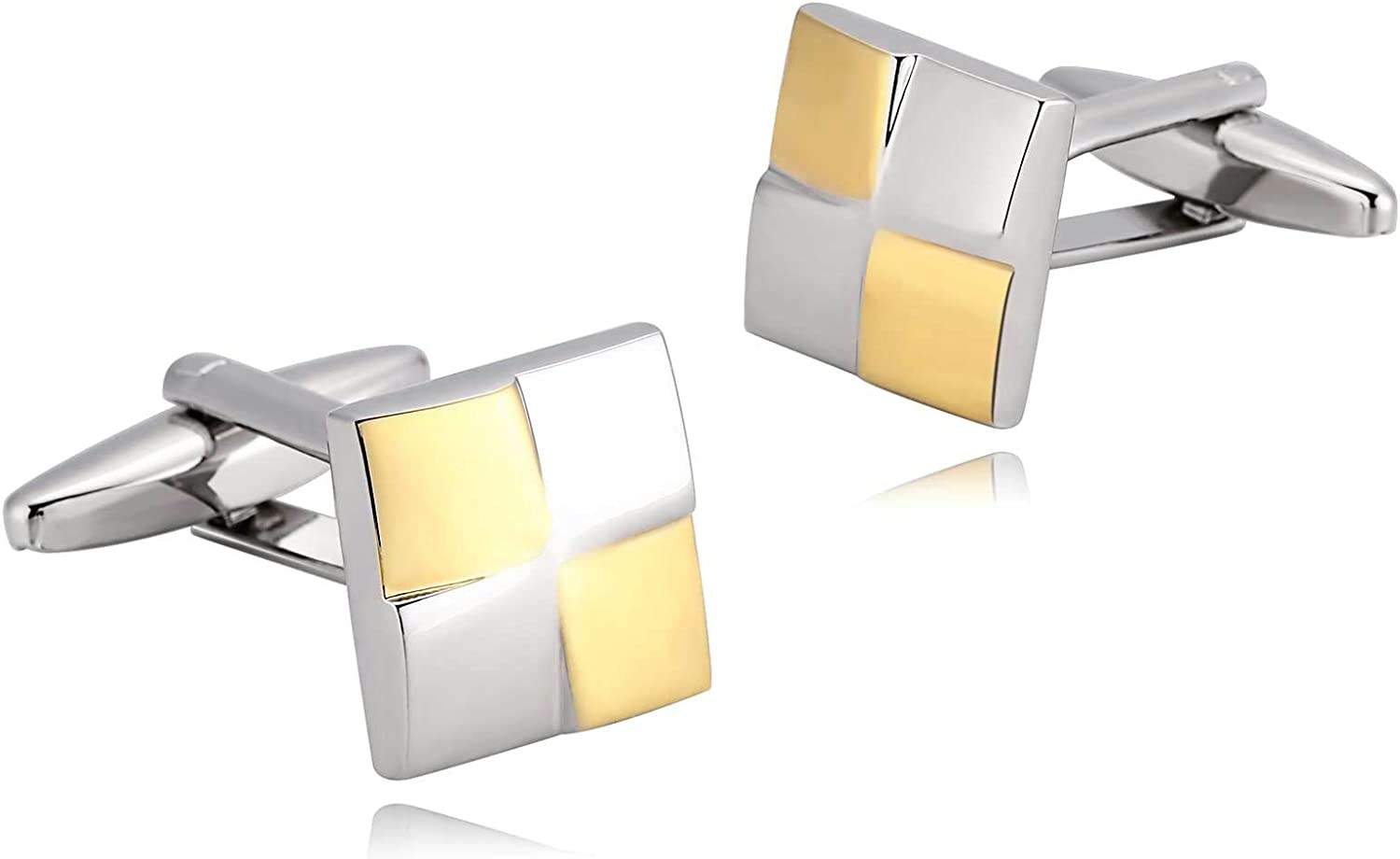 AMDXD Cheap sale Cufflinks Cuff Links Mens Gold sold out Square 1. Stainless Silver