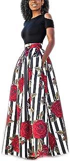 YIPIN 2 Piezas Mujer Vestidos Casual Verano para Boda Básica Top sin Tirantes + Falda Largos Retro Rosa Impresaho de Fiesta Playa Ceremonia