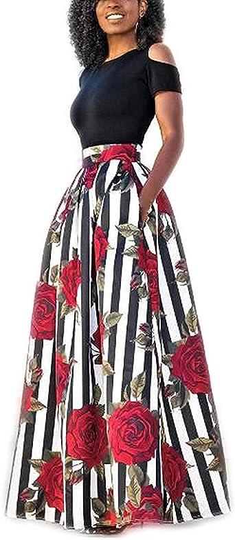 GNRSPTY 2 Piezas Mujer Vestidos Casual Verano para Boda Básica Top sin Tirantes + Falda Largos Retro Rosa Impresaho de Fiesta Playa Ceremonia